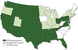 Statistical Map of U.S. West Nile Neurologic Disease Incident Reports by State